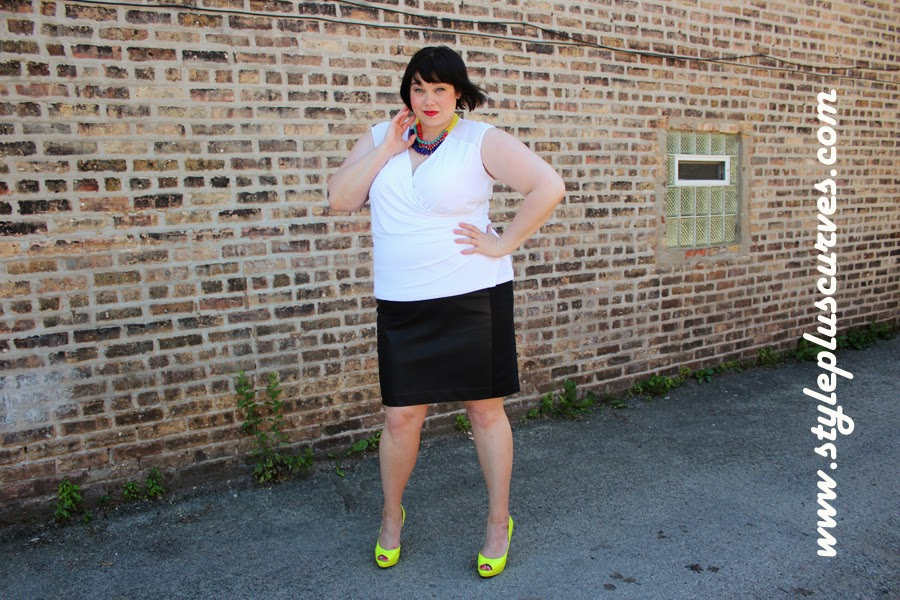Plussize Calvin Klein White Top and Eloquii Leather Skirt