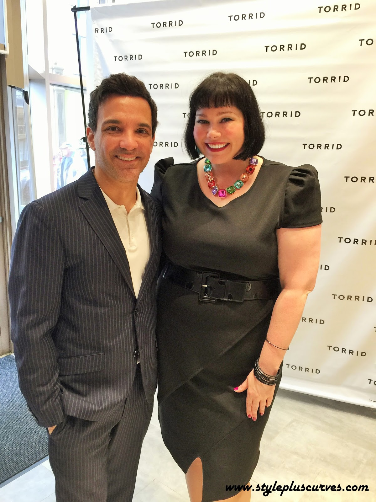Amber from Style Plus Curves with George Kotsiopoulos at the Torrid on State Opening