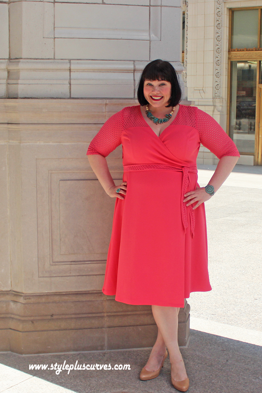 Summer Style Essential: Plus Size Wrap Dress in Coral from Kiyonna