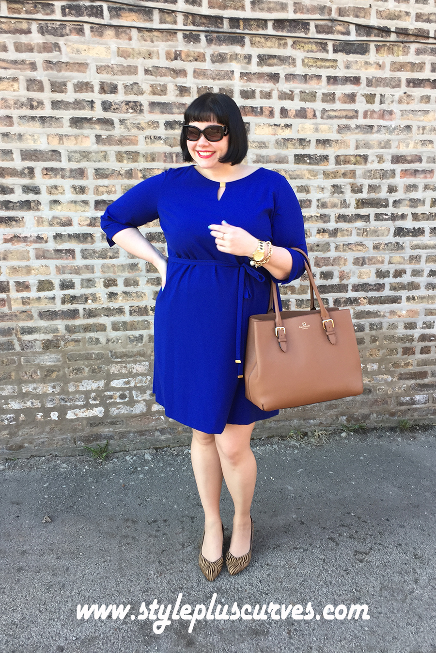 Plus Size Blue Dress by Tahari on Amber from Style Plus Curves with Kate Spade purse
