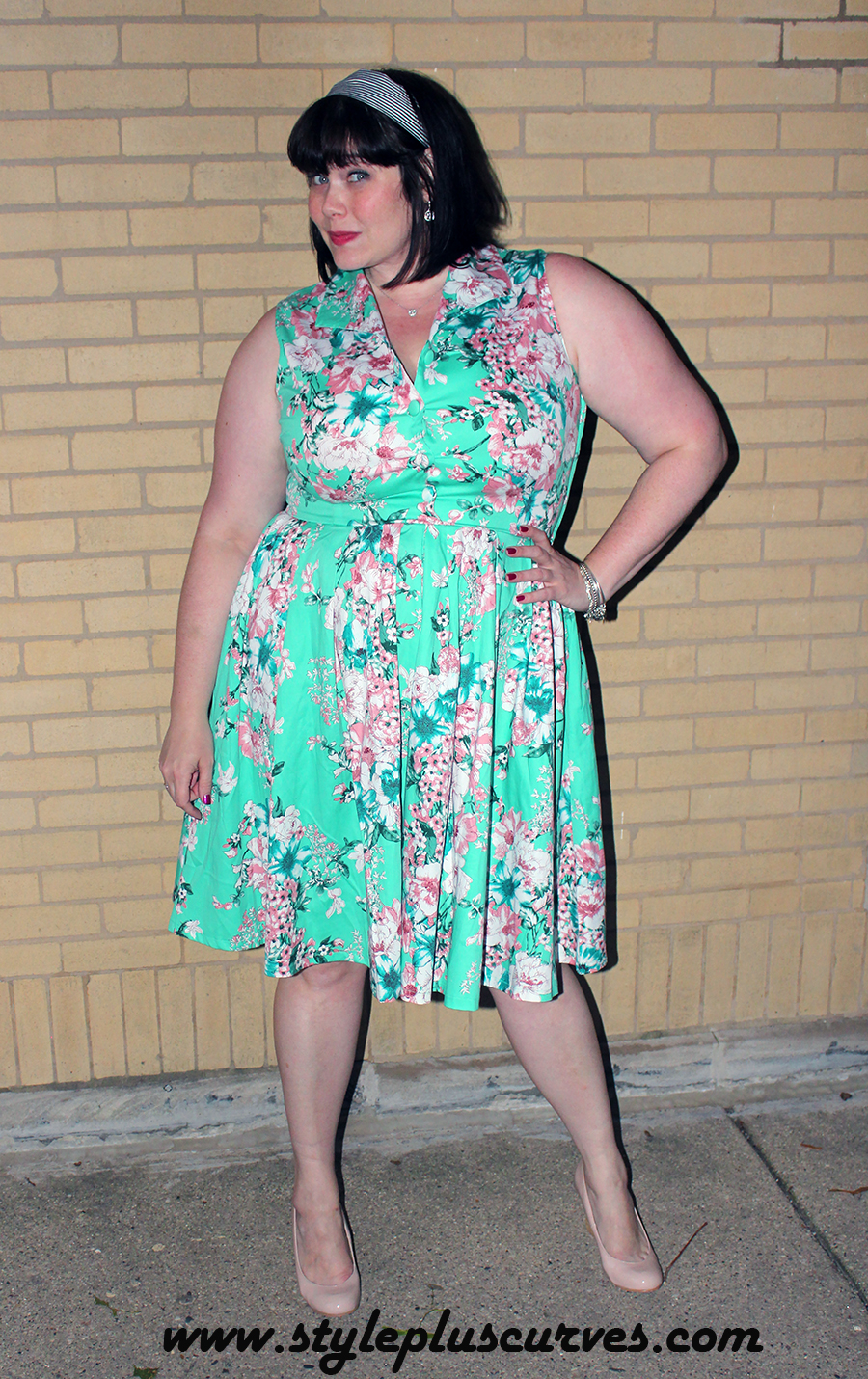 Voodoo Vixen Vintage Dress in Minty Green Floral on Amber from Style Plus Curves