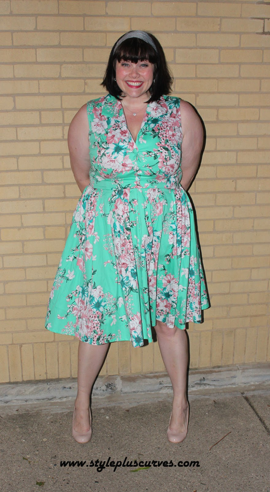 Voodoo Vixen Plus Size Vintage Dress in Minty Green Floral on Amber from Style Plus Curves