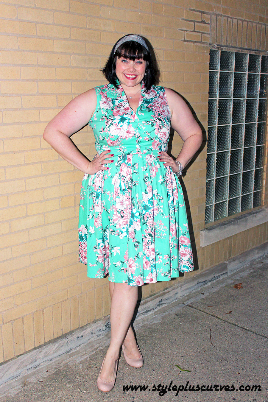 Plus Size Vintage Shirt Dress in Minty Floral