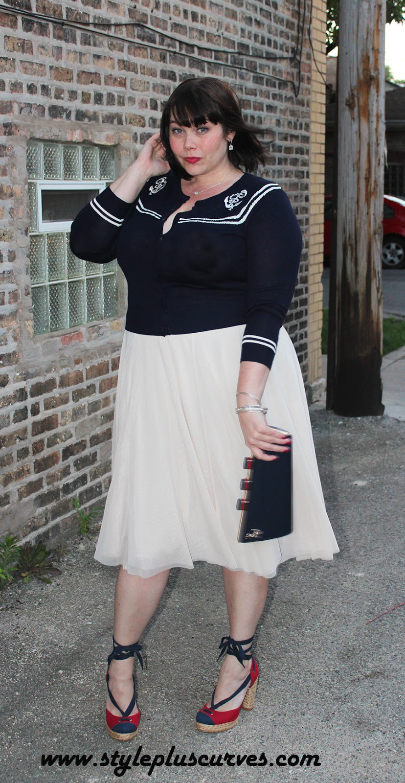 Amber from Style Plus Curves in Plus Size Vintage Cardigan from Voodoo Vixen