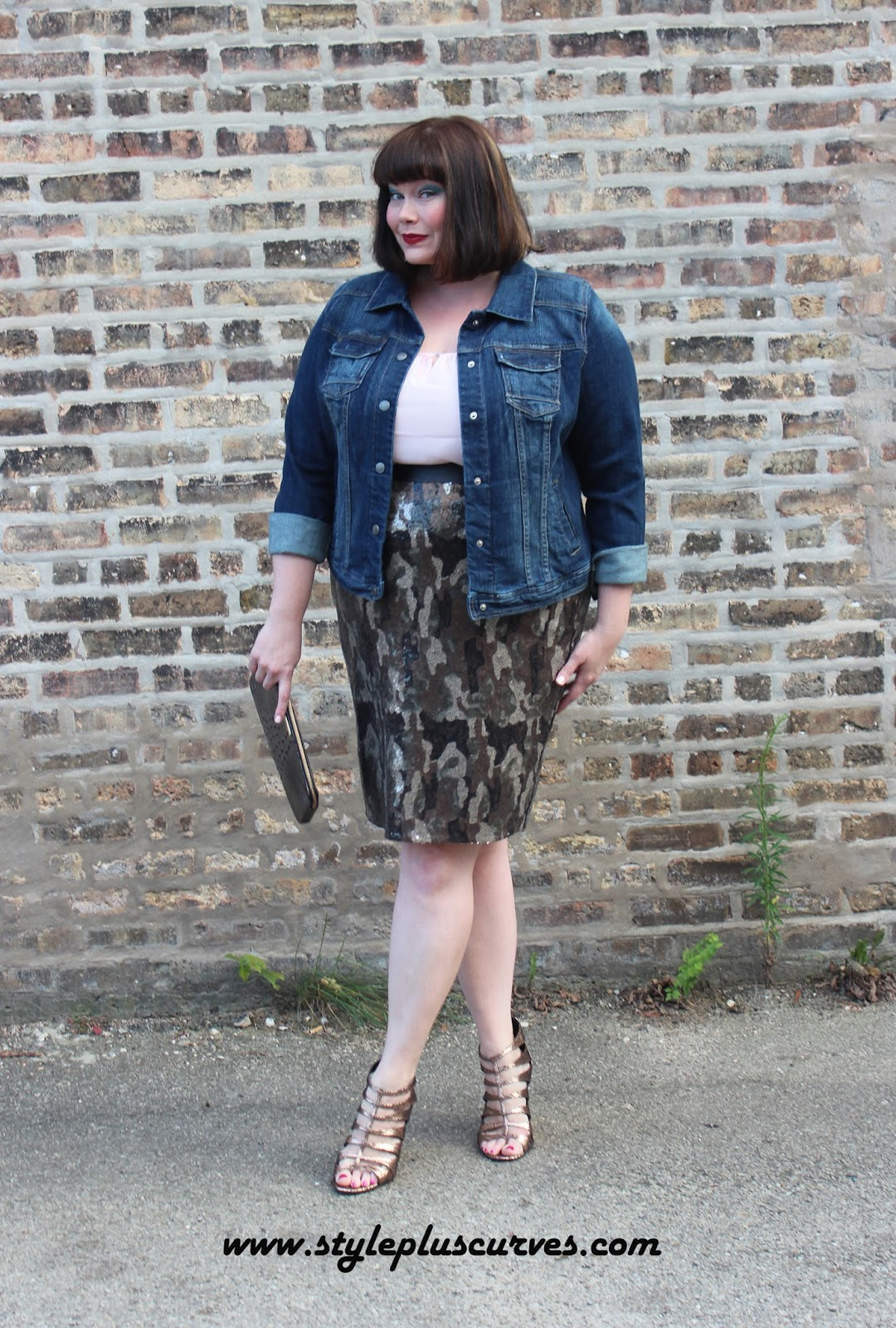 70f89be2b033c Amber from Style Plus Curves wears a Lane Bryant Camo Sequin Skirt and a  Denim Jacket