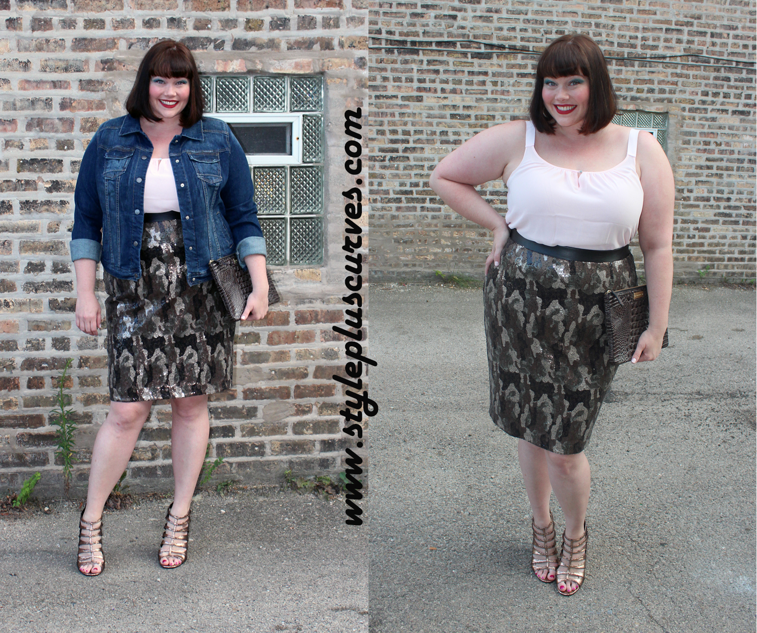 3af33901417 Amber from Style Plus Curves wears a Lane Bryant Camo Sequin Skirt and a  Denim Jacket