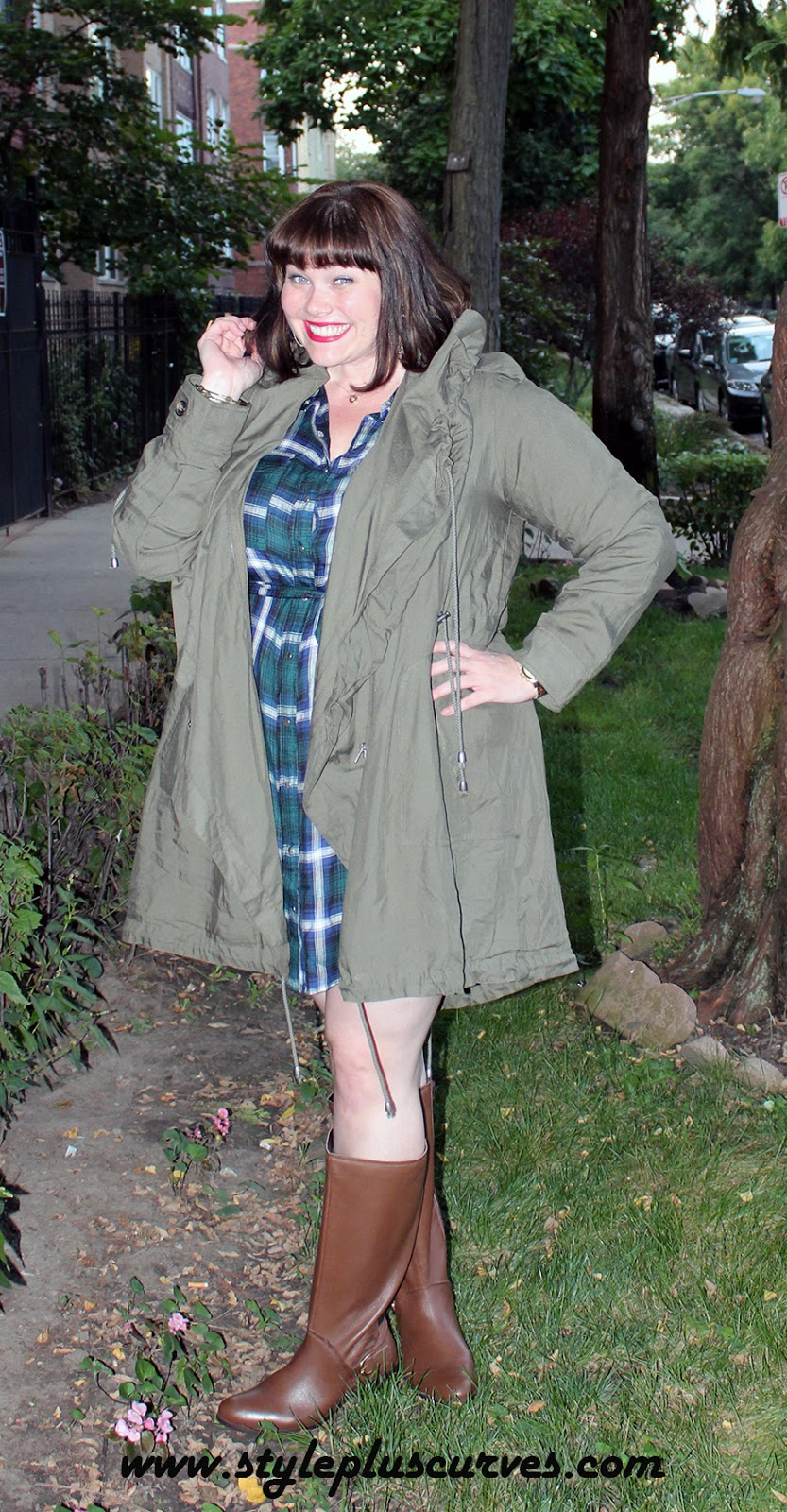 Amber from Style Plus Curves in Yours Clothing Plaid Tunic for Fall Fashion