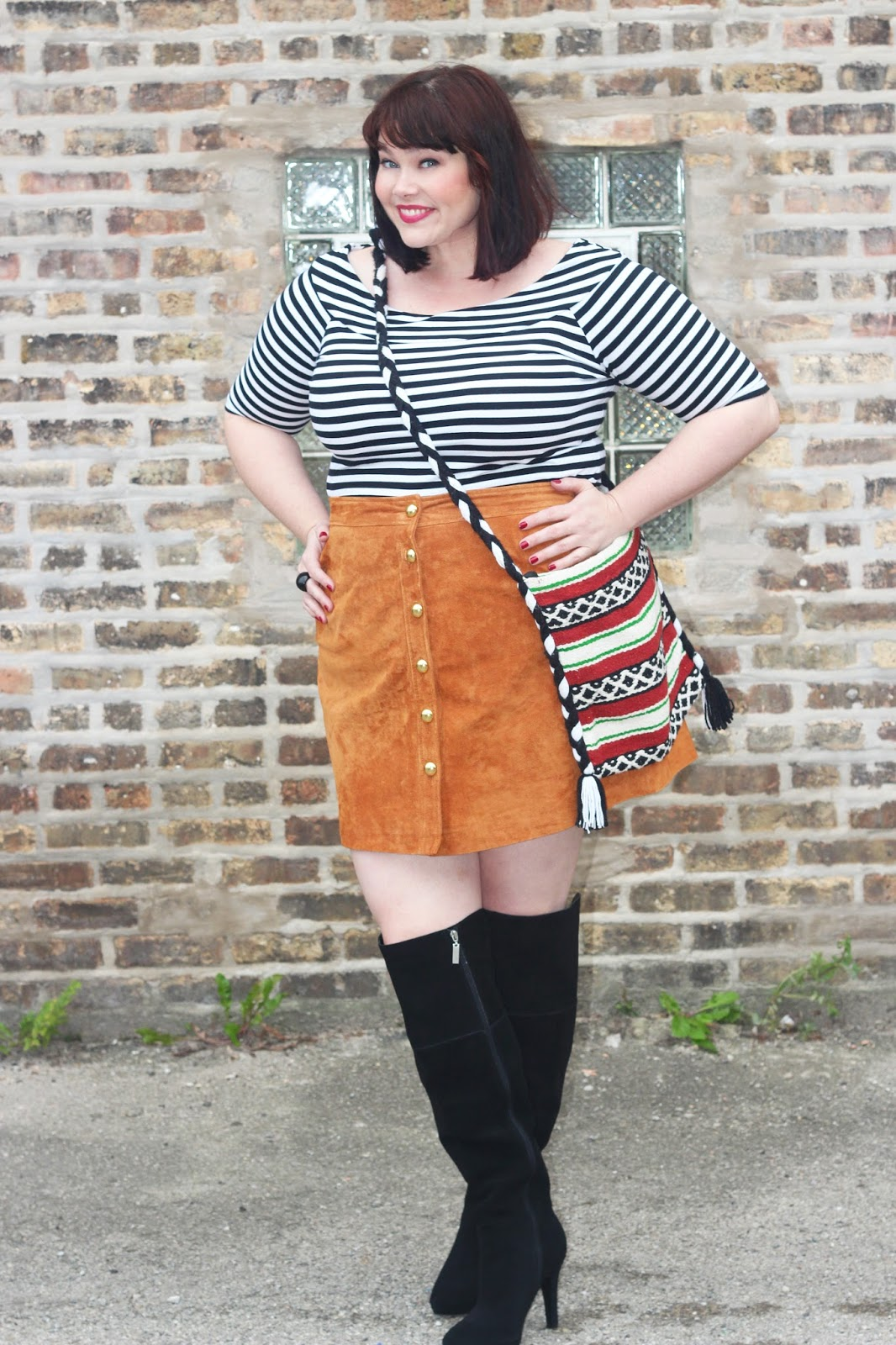 8ce0f2e582206 Plus Size Blogger Amber from Style Plus Curves wearing a plus size suede  skirt from Simply