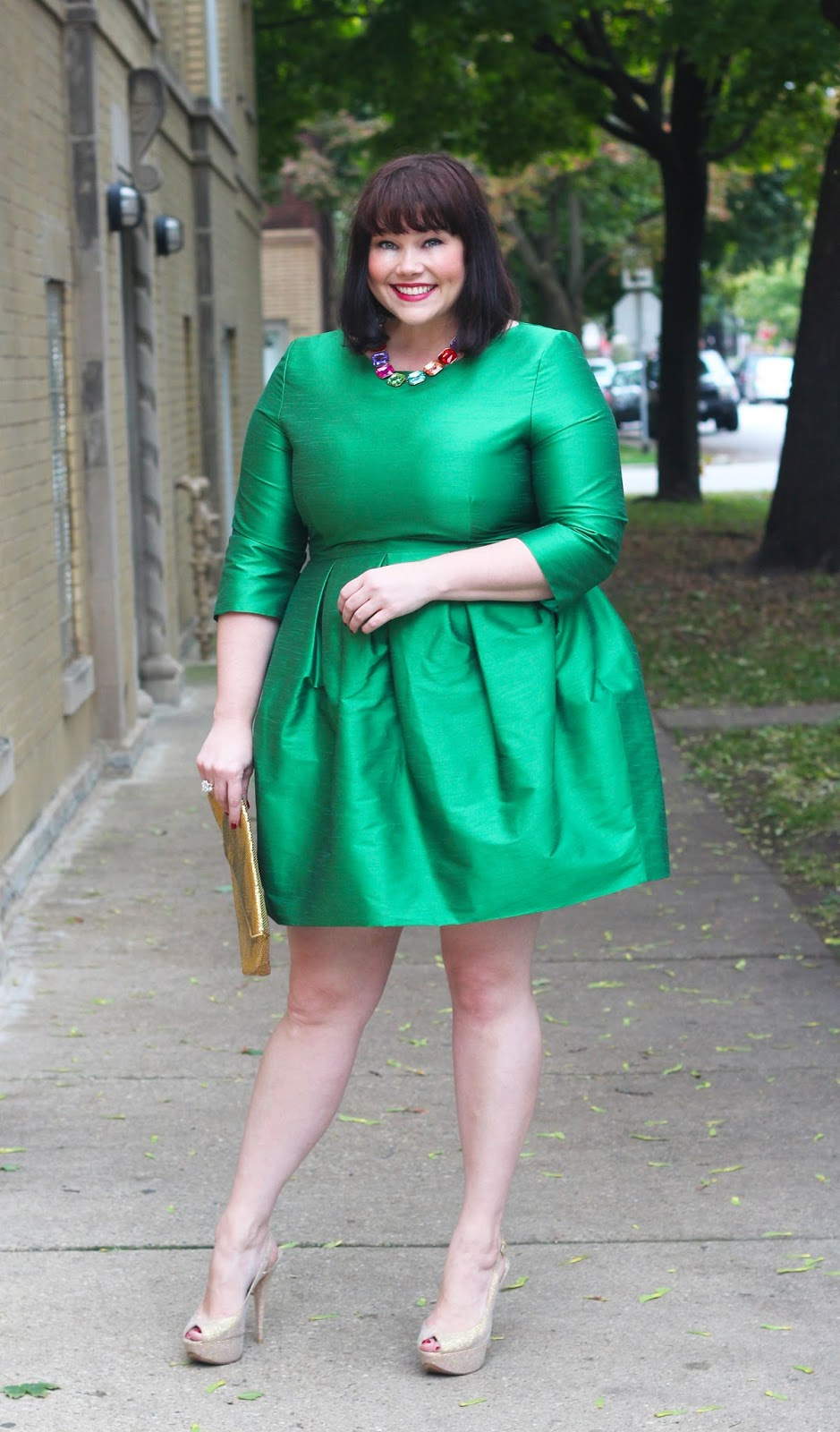b0b66cb8 Plus size blogger Amber from Style Plus Curves wears a plus size custom  dress in emerald