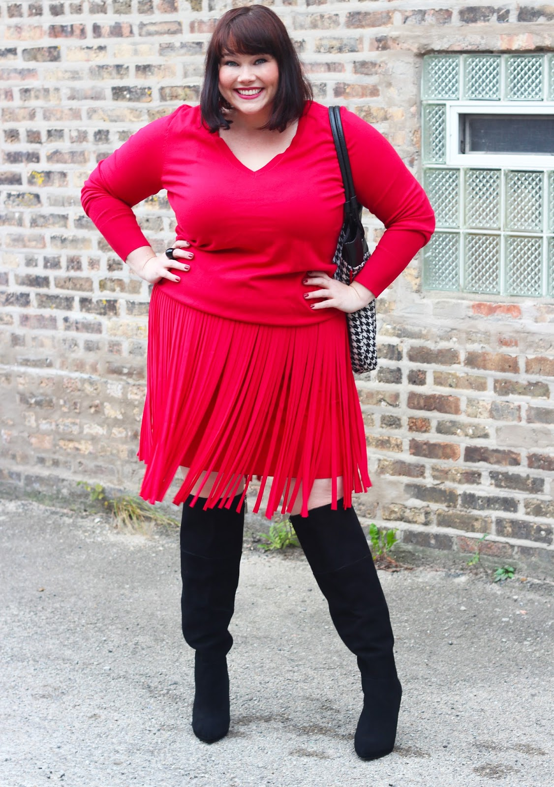 red fringe plus size skirt, plus size blogger amber, style plus curves, #fringe goals, Lane Bryant red fringe skirt, black over the knee boots, wide calf boots, red plus size sweater