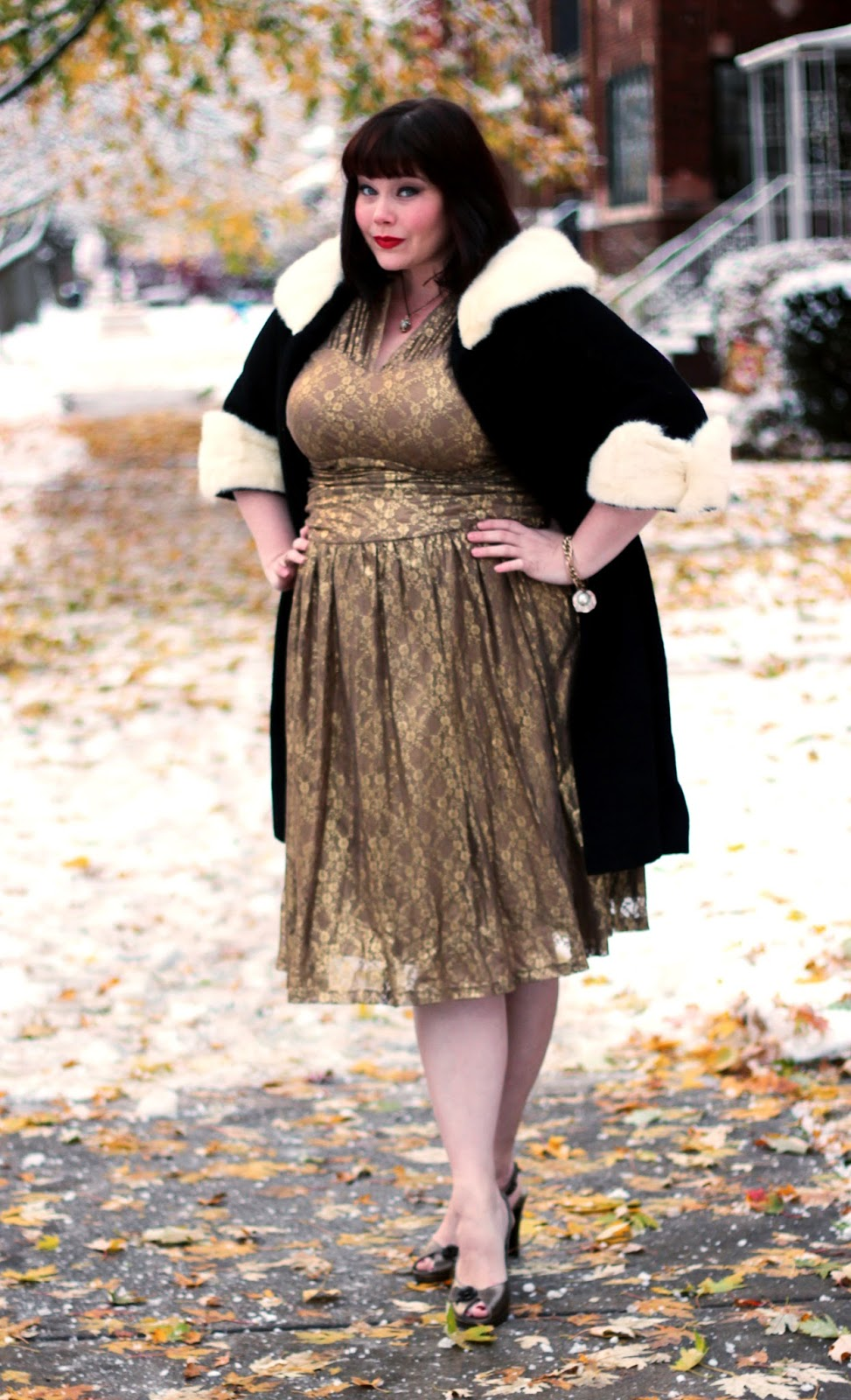 a04073ba059 Plus Size Blogger Amber from Style Plus Curves in Gold Lace Dress from  Kiyonna