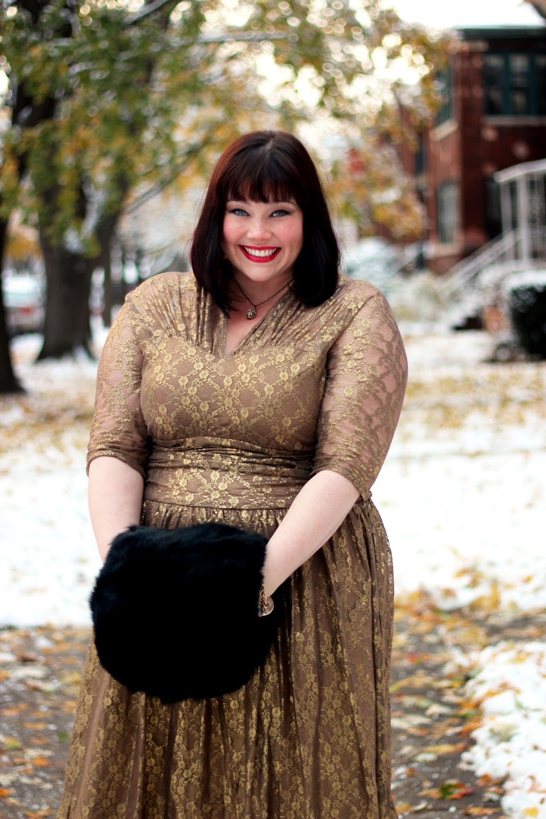 56c95071e57 Plus Size Blogger Amber from Style Plus Curves in Gold Lace Dress from  Kiyonna · Metallic Maven ...