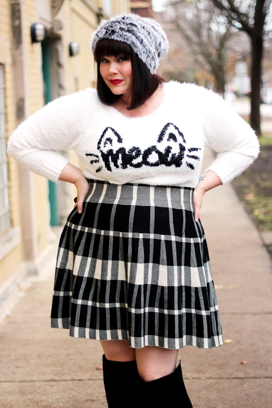 plus size cat sweater from torrid modeled by plus size blogger amber from style plus curves