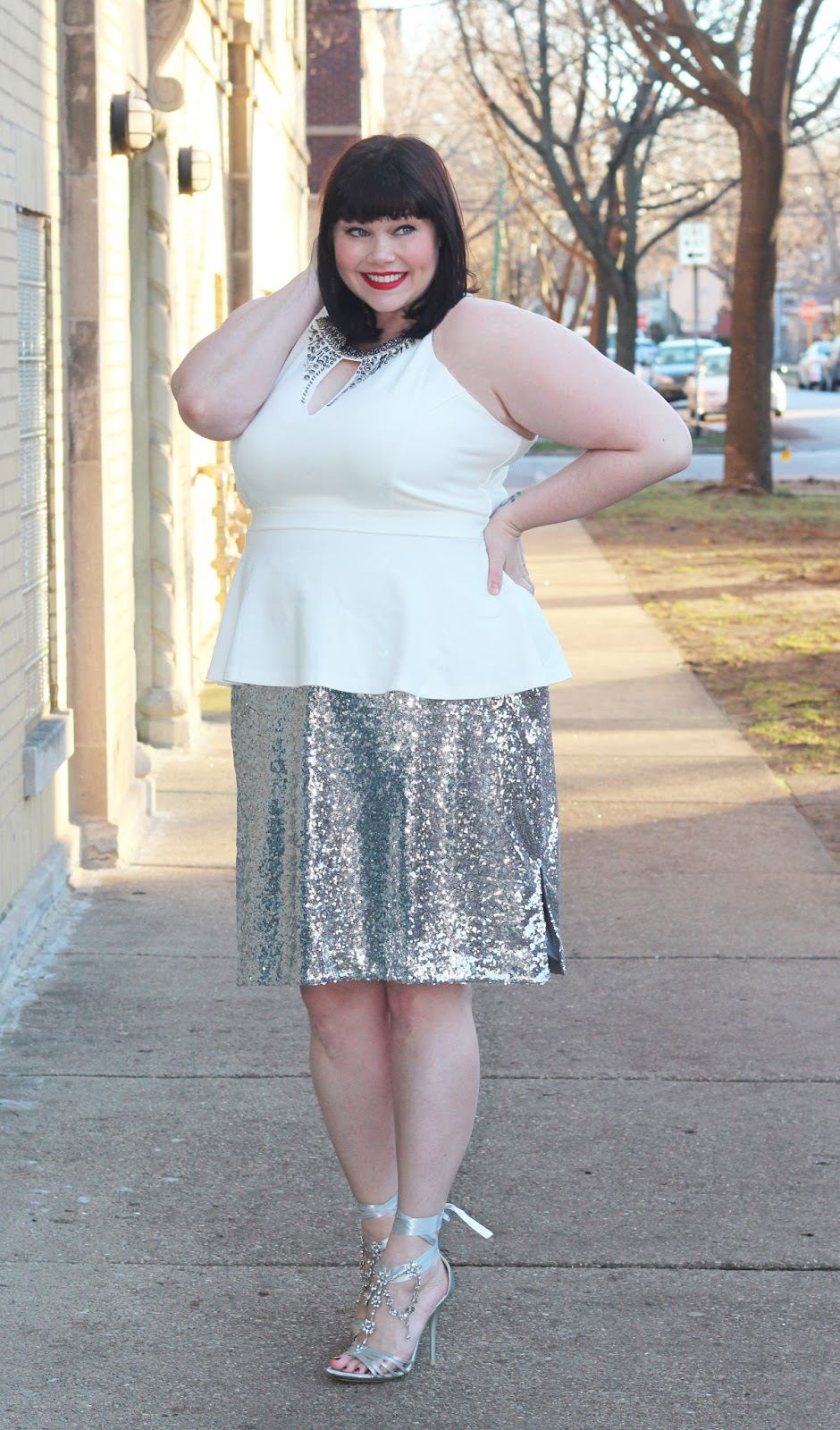Amber from Style Plus Curves in a White Plus Size Peplum Top  and Sequin Skirt from Fullbeauty.com