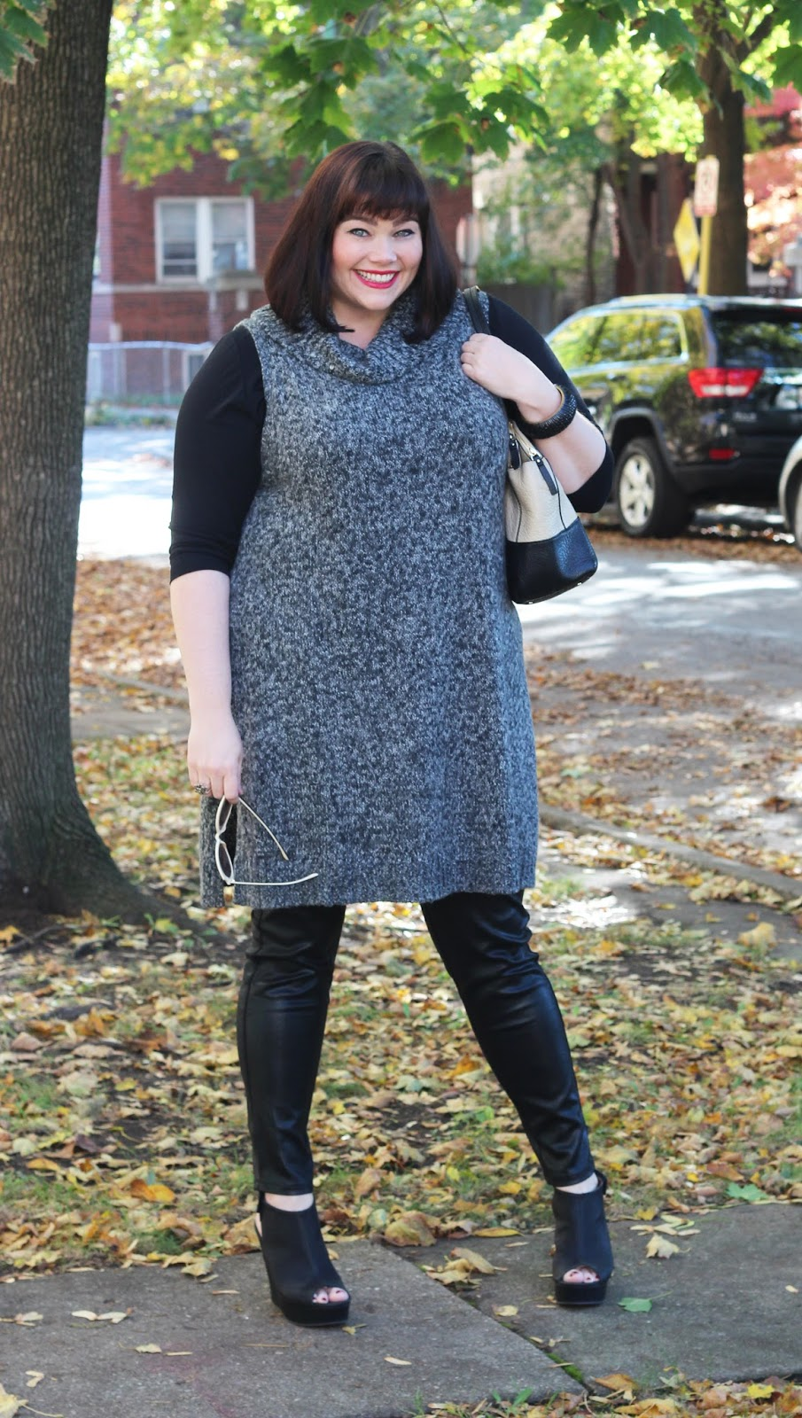 Plus Size Winter Wear: Sweater Tunic and Leather Jeggings