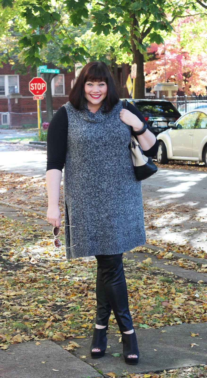 Amber from Style Plus Curves in a Plus Size Winter Outfit featuring Halogen Grey Cowl Neck Sleeveless Sweater Tunic and Leather Jeggings