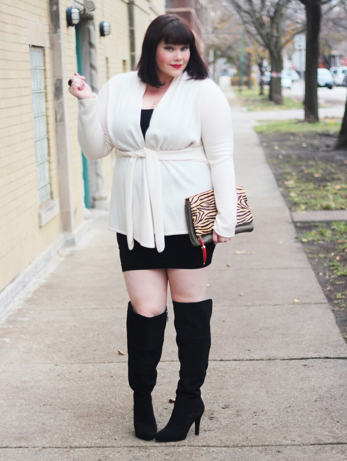 Amber from Style Plus Curves in a Tees by Tina Tunic Dress and Cashmere Sweater