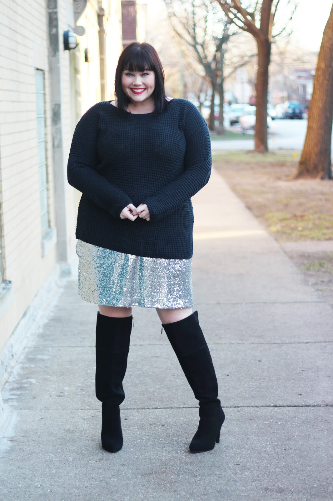 2 Ways to Wear a Black Chunky Knit Sweater