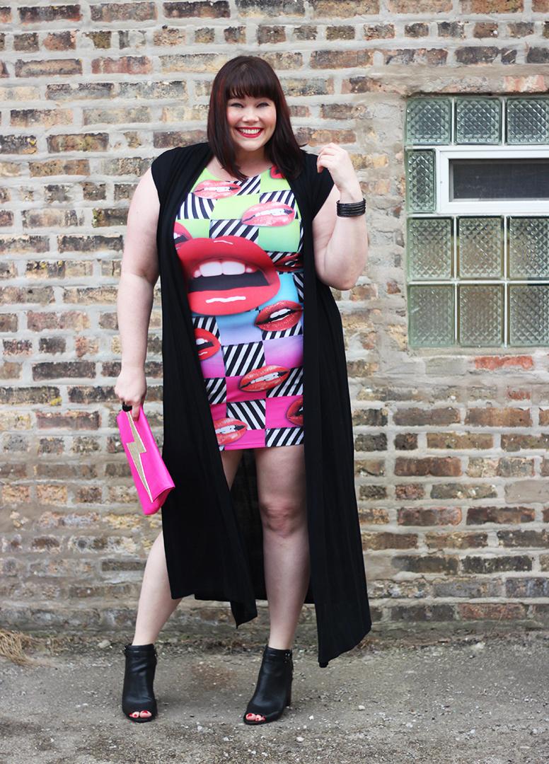 Pop Art Inspo Plus Size Lip Dress And Black Duster