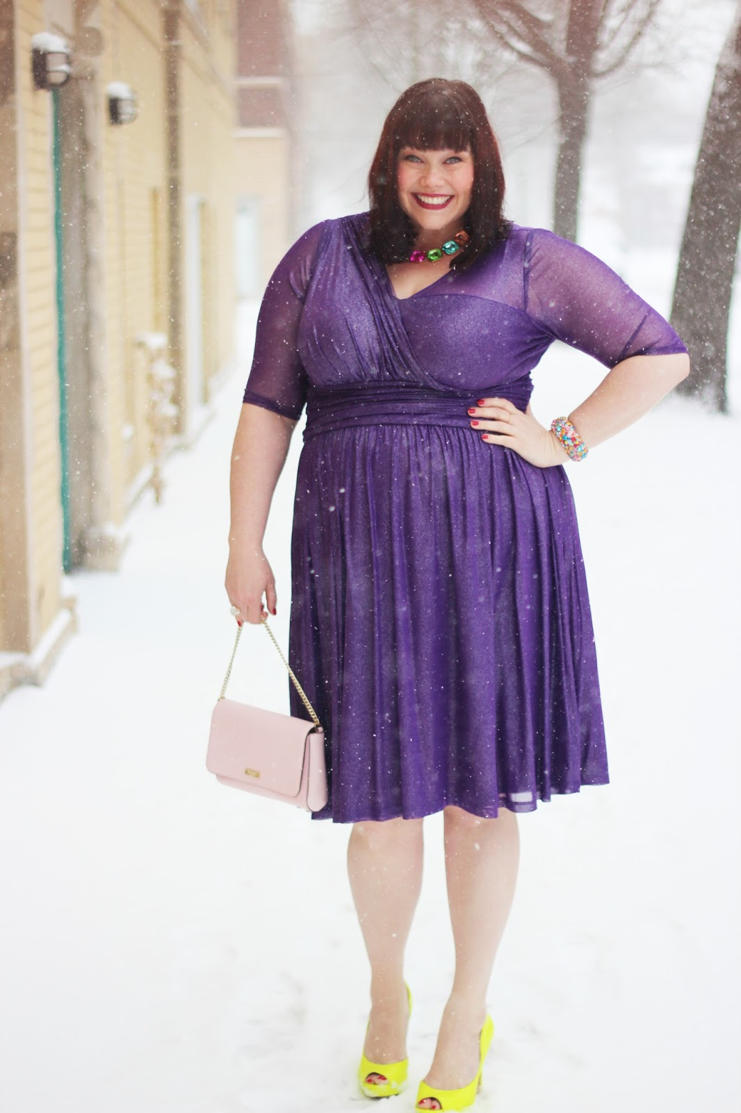 Plus Size Blogger Amber in Kiyonna Cocktail Dress in the Snow