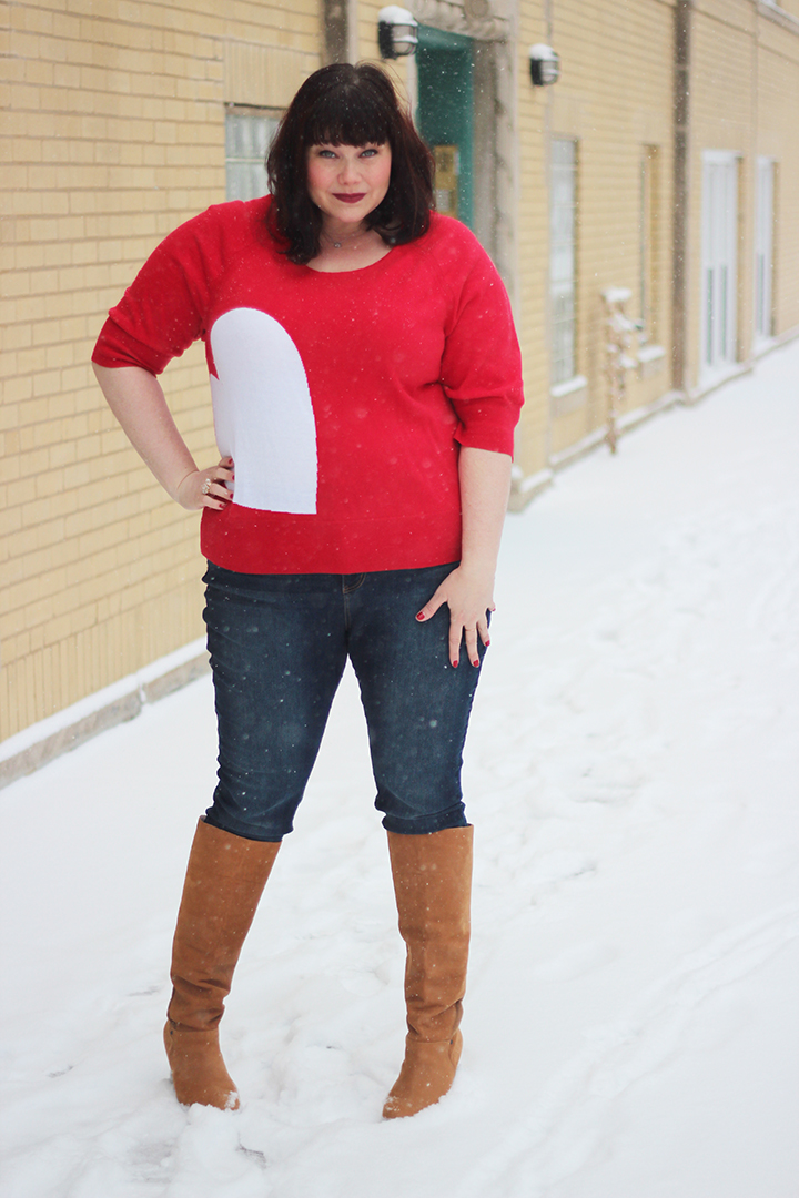 Plus Size Blogger Amber in Lane Bryant Red Heart Sweater