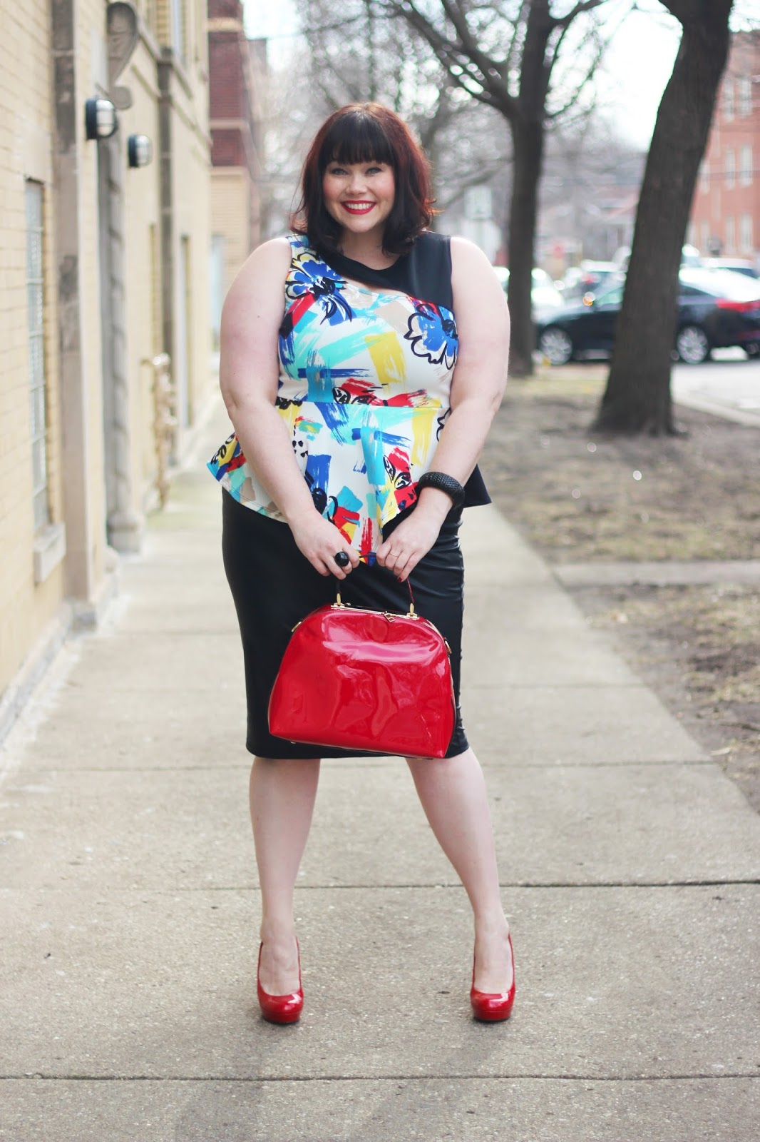 modern office classic plus size peplum and pencil skirt