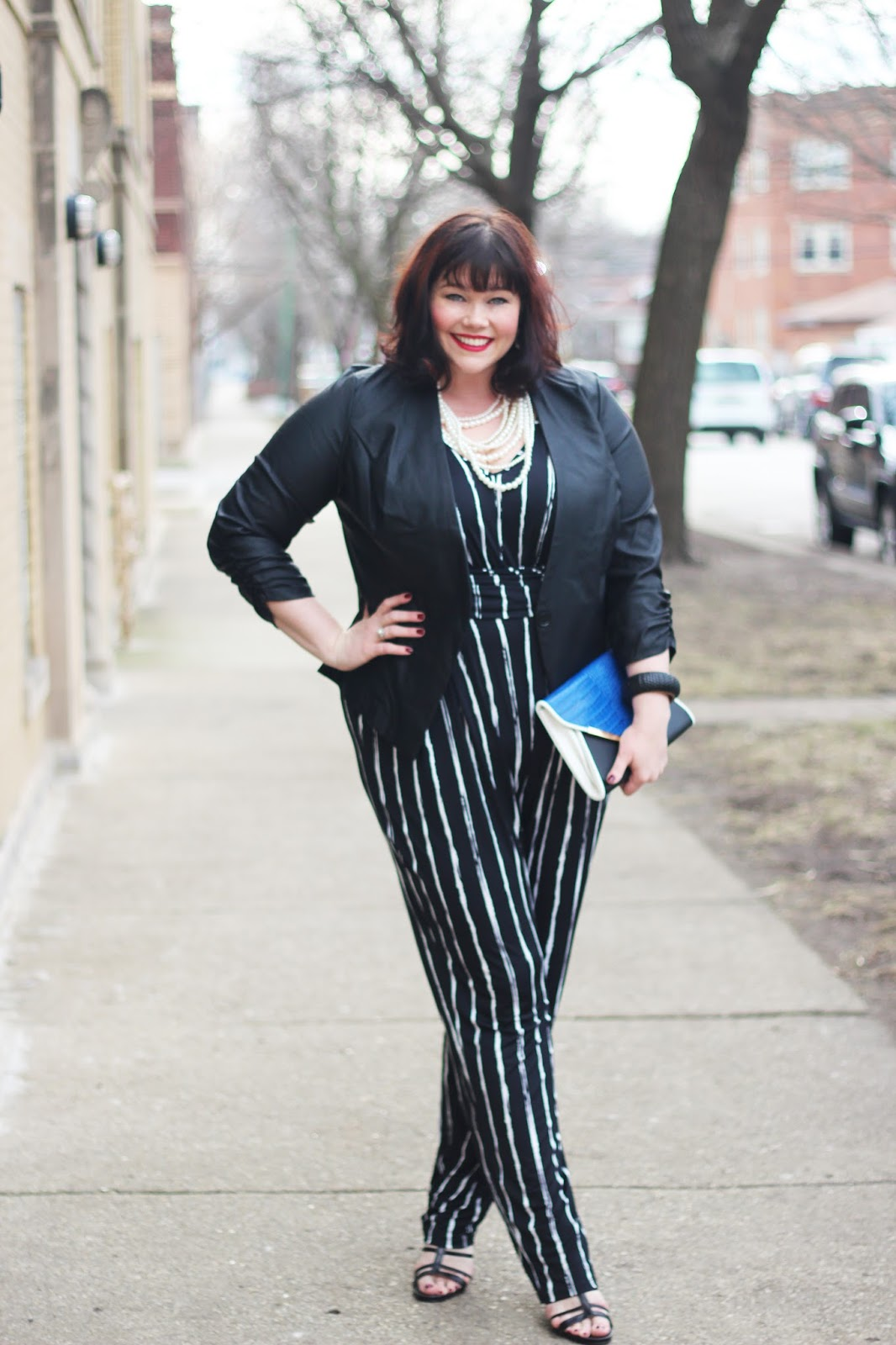 Plus Size Blogger Amber from Style Plus Curves in a Jumpsuit and Blazer from Fashion to Figure
