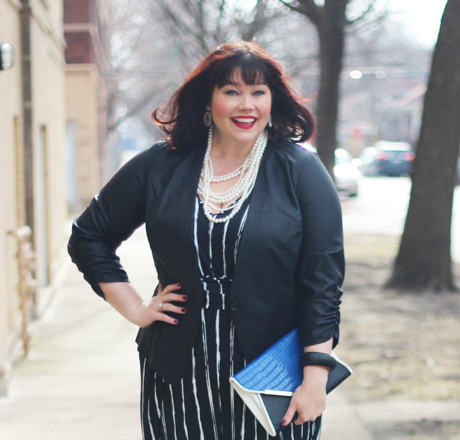 21673a2dfaeb Check back tomorrow for my last outfit post of this series! by Amber.  Comments Off on Plus Size Jumpsuit and Faux Leather Blazer from Fashion to  Figure