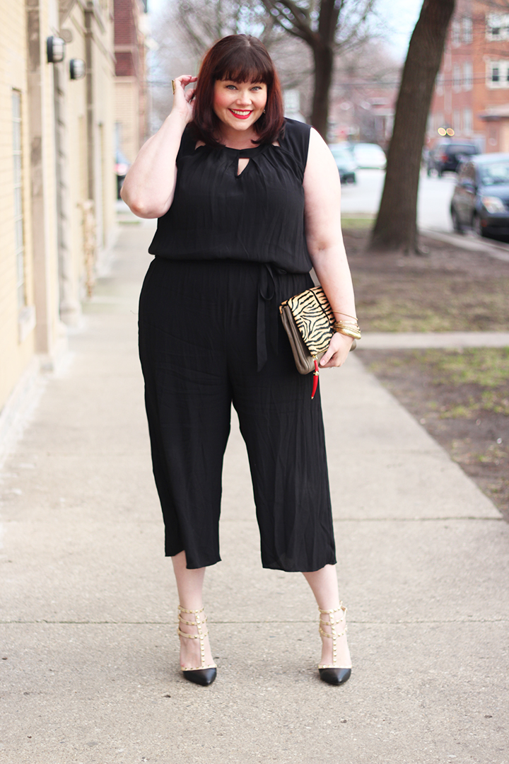 Plus Size Blogger Amber from Style Plus Curves in a Plus Size Jumpsuit from the Avenue