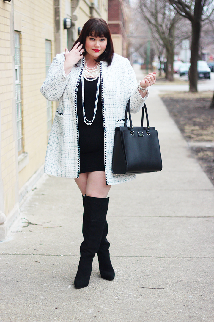 plus size blogger, plus size chanel coat, Tahari ASL Faux Pearl Trim Boucle Coat, Tees by Tina Sleeveless Tunic Dress, Lane BryantOver the Knee Boots, Kate Spade Black Shoulder Bag