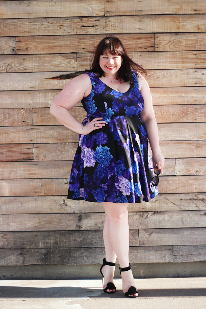 Plus Size Blogger Amber from Style Plus Curves in a City Chic Hydrangea Print Plus Size Dress