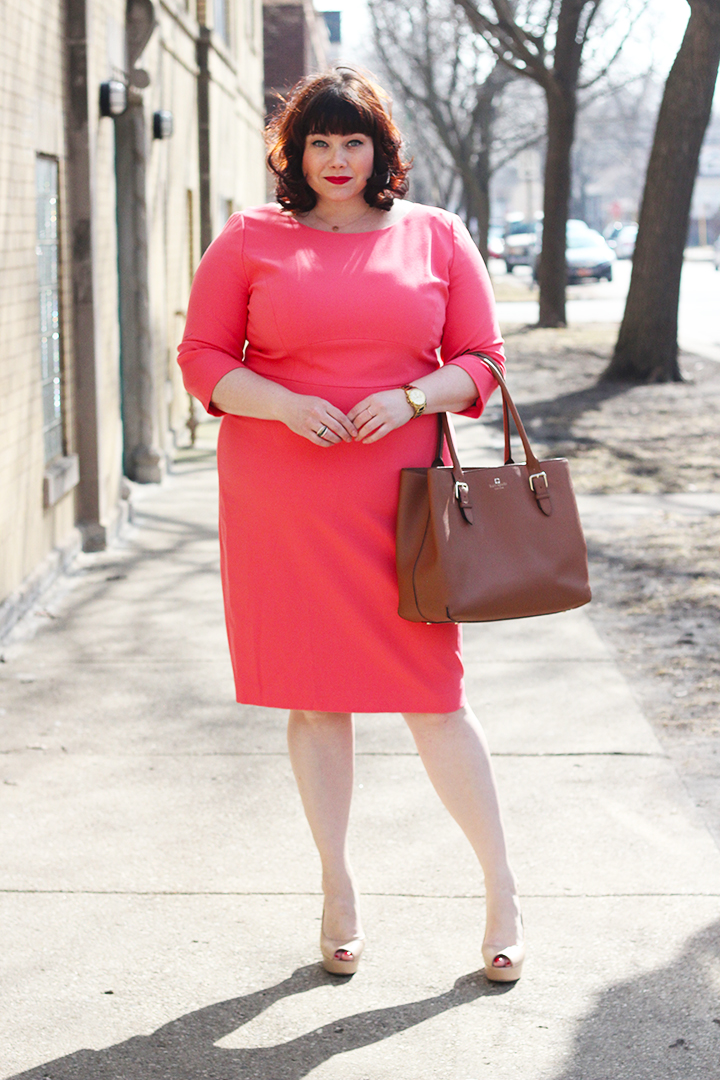 Plus Size Blogger Amber from Style Plus Curves wears a Plus Size Dress, Coral Bateau Sheath Dress from Classiques Entier