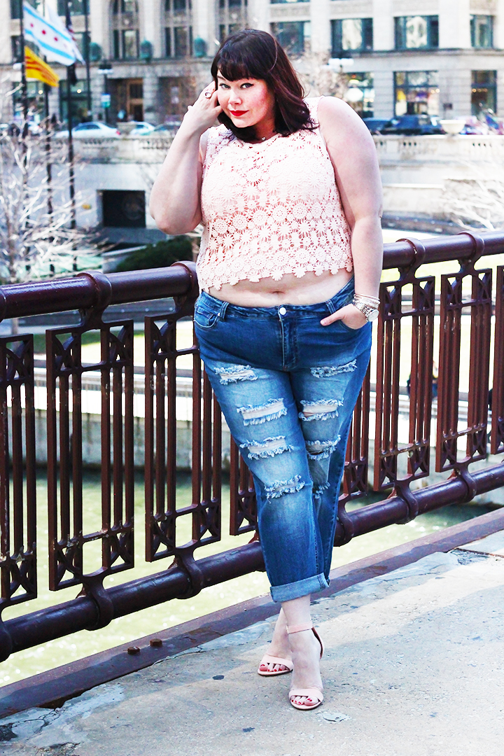 d9810c67acf Off Duty Style  Forever 21 Plus Size Crop Top and Ripped Jeans