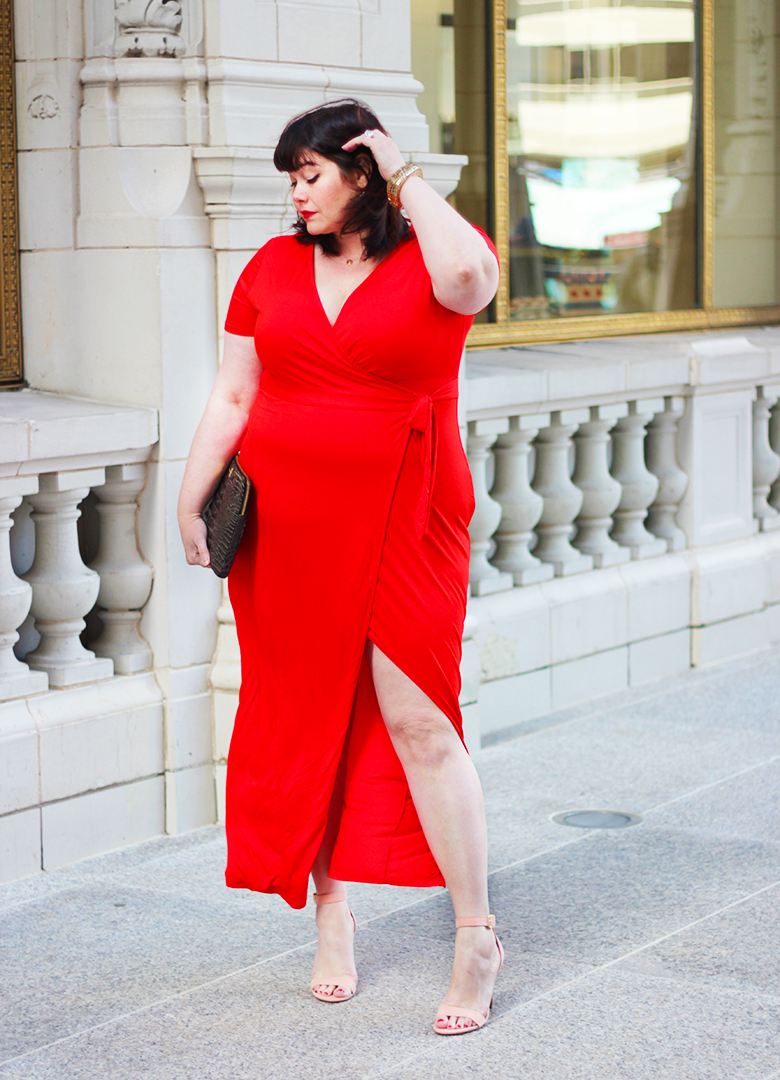 Plus Size Model Amber from Style Plus Curves in a Red Wrap Dress