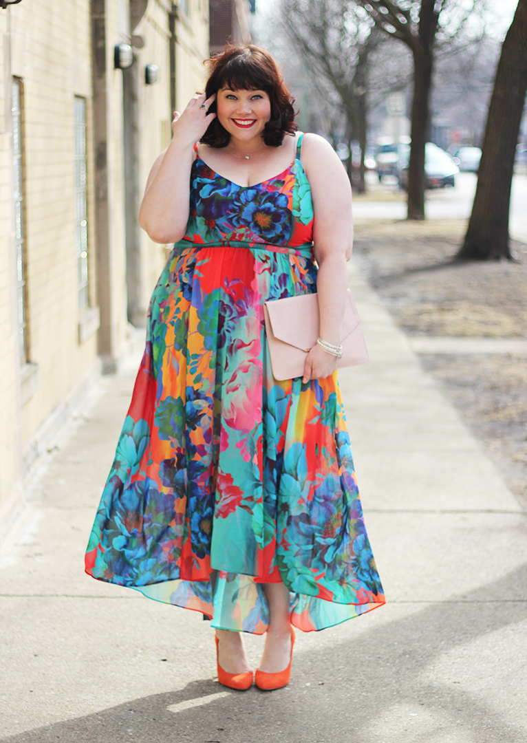 Plus Size Blogger Amber in Bright Floral Maxi Dress