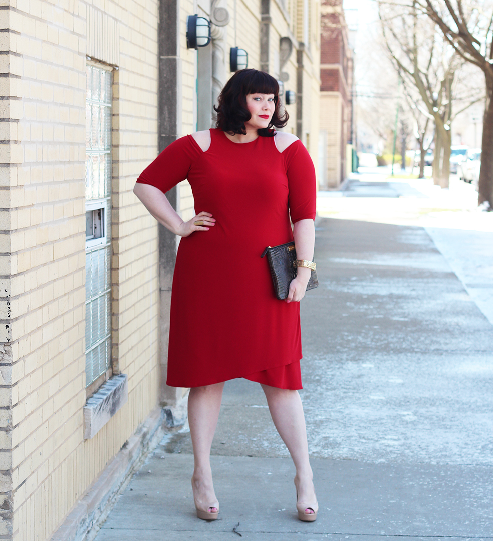 Showing Some Shoulder in this Kiyonna Racy Wrap Dress