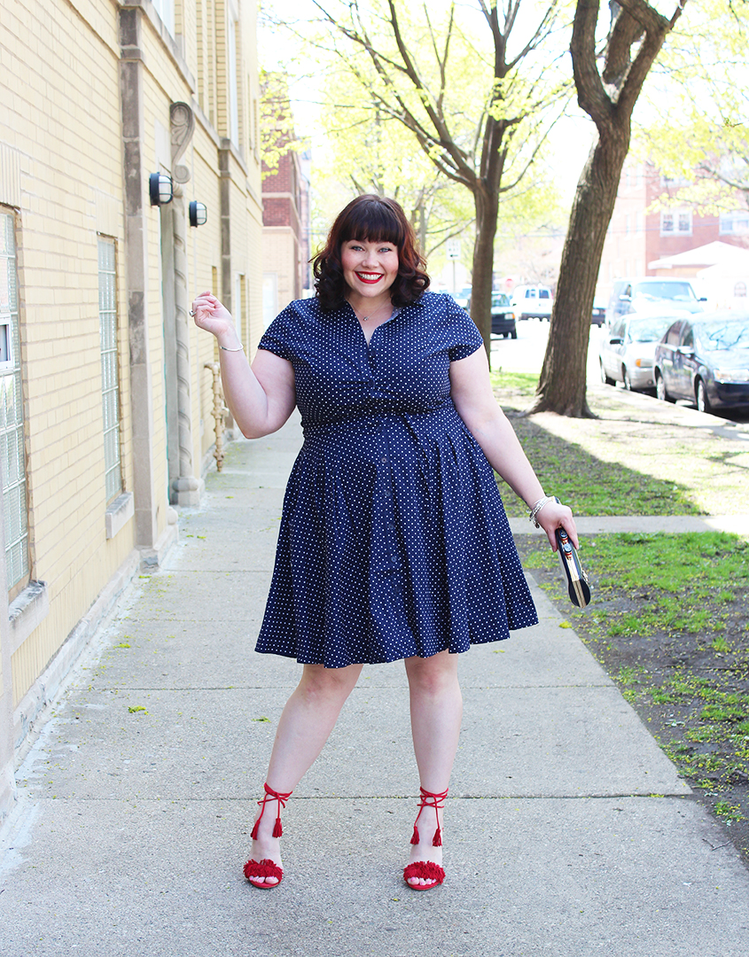 Plus Size Style: Polka Dot Shirtdress and Red Heels