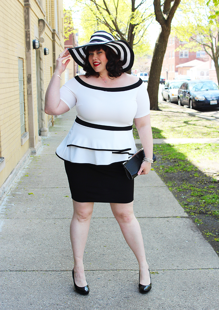 Plus Size Kentucky Derby Style: Off the Shoulder Dress with Wide ...