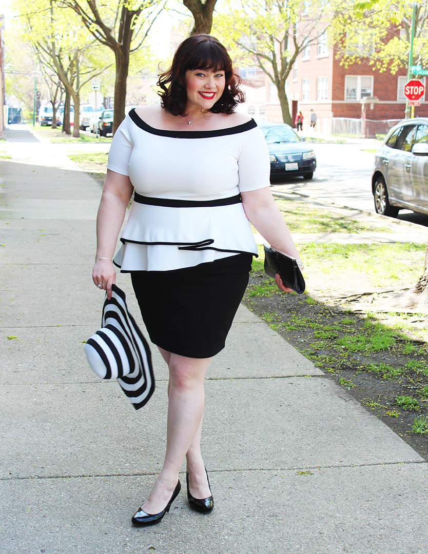 Plus Size Model Amber in an Off the Shoulder Black and White Plus Size Dress from Fashion to Figure through Fullbeauty.com