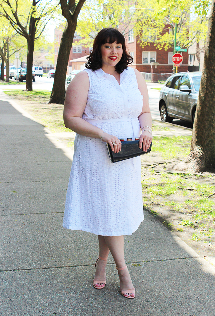 Summer Style: Plus Size White Eyelet Midi Dress from Jessica London