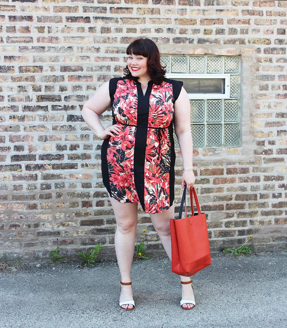 plus size blogger, plus size model, style plus curves, plus size tunic dress, leaf print tunic, Yours Clothing, summer style