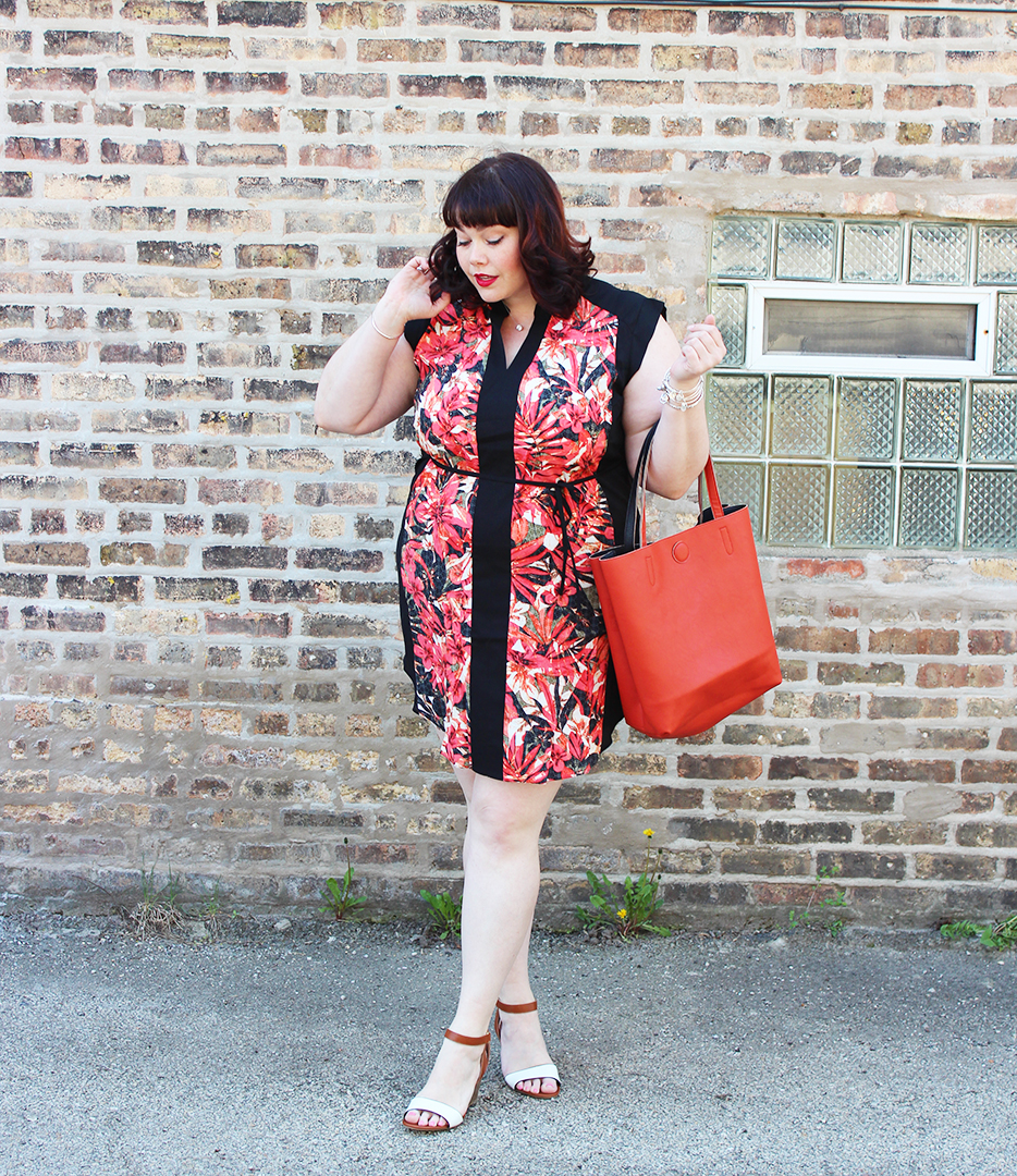 Plus Size Blogger Amber from Style Plus Curves in a Red and Black Floral Tunic Dress from Yours Clothing