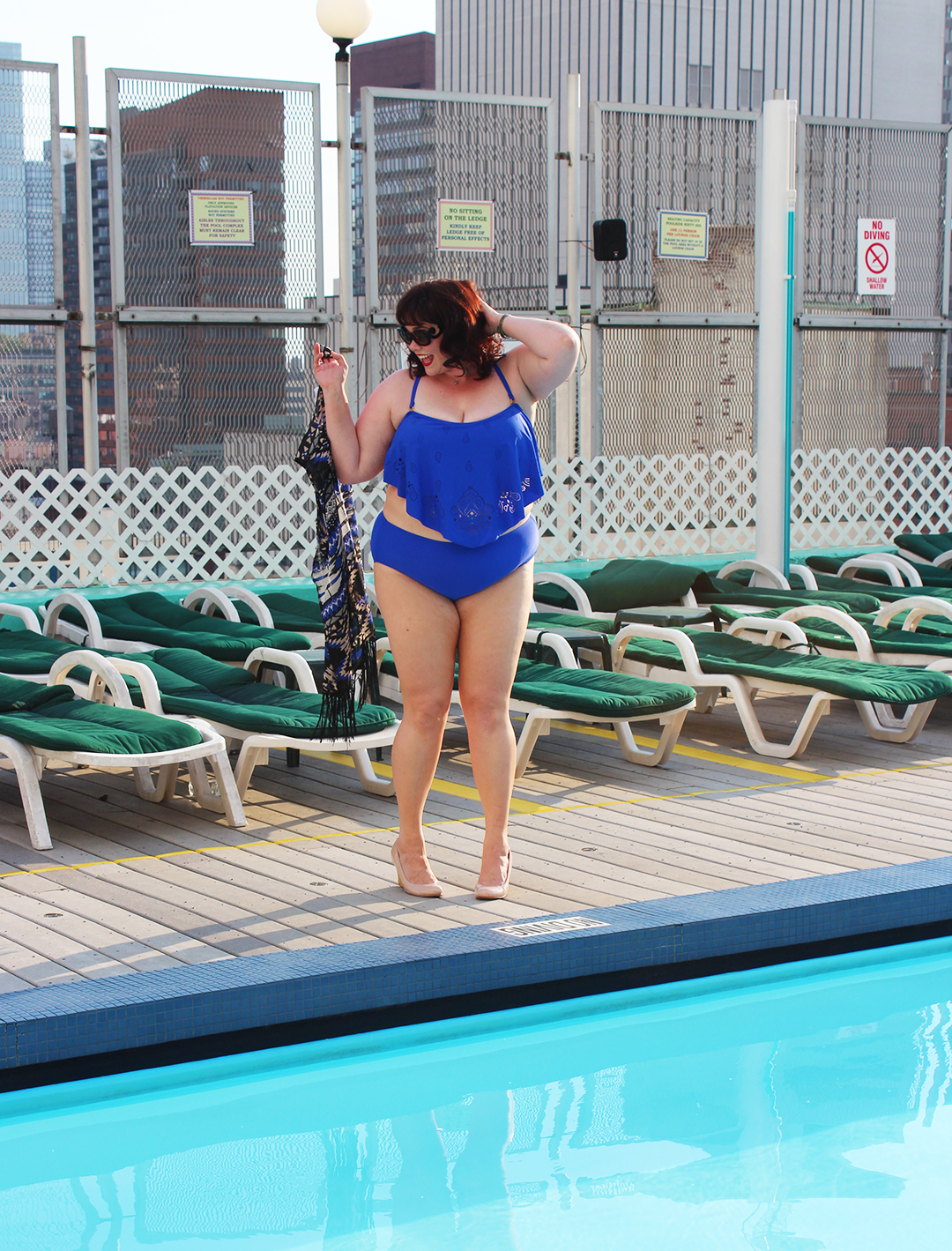 Plus Size Model in a blue two piece plus size bathing suit from Always for Me