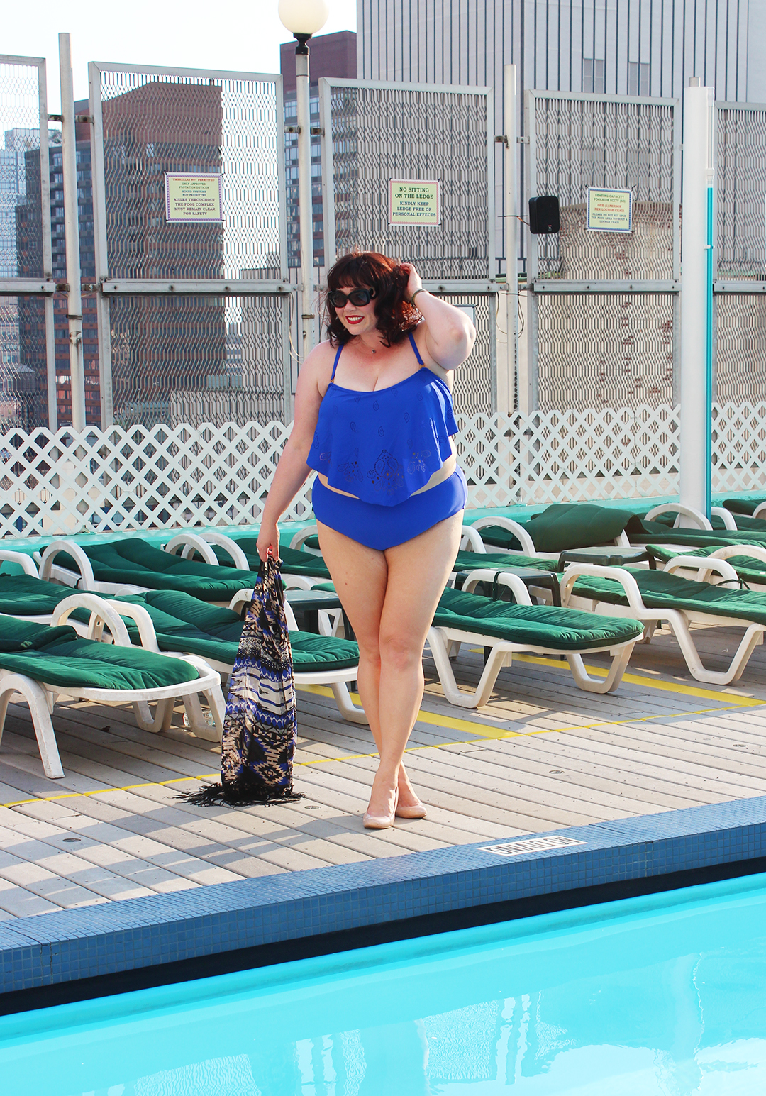 Plus Size Blogger Amber from Style Plus Curves in a blue two piece plus size bathing suit from Always for Me