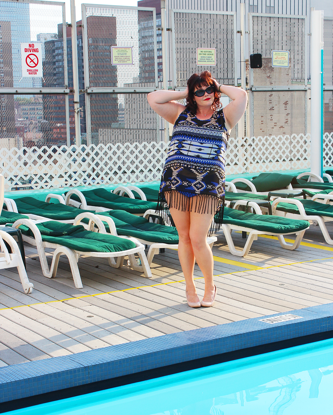Plus Size Blogger Amber from Style Plus Curves in a Plus Size Bikini from Always for Me, Golden Confidence Pool Party, New York Rooftop