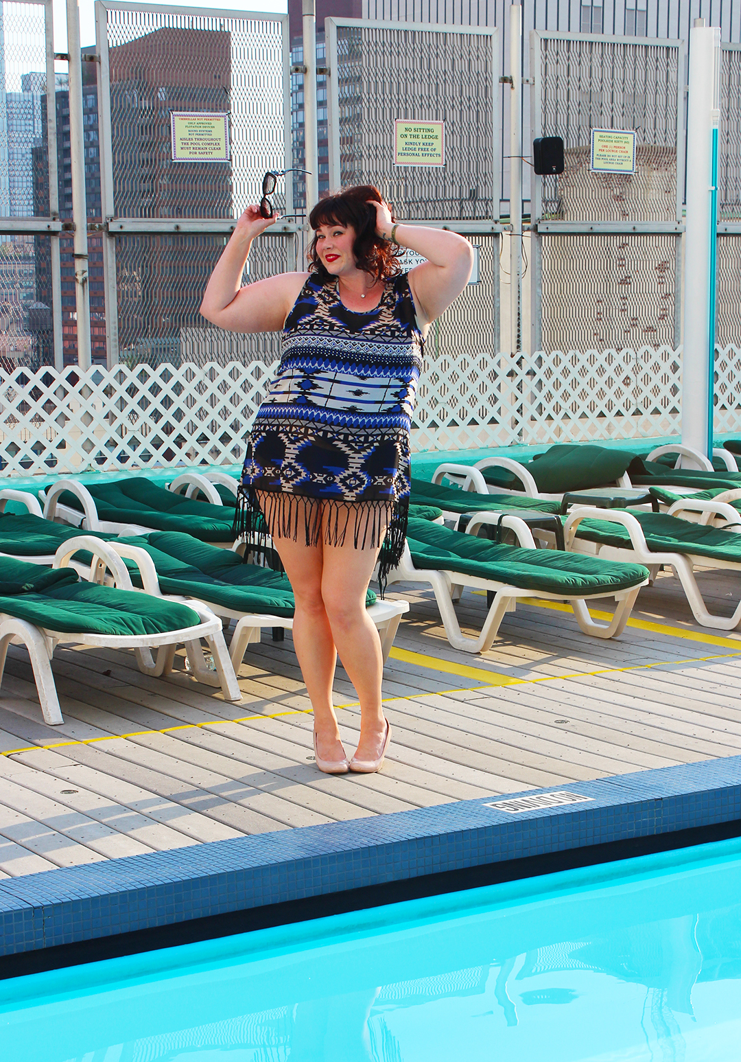 Plus Size Blogger in a Plus Size Blue Fringed Coverup from Always for Me