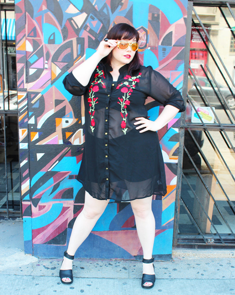 5911a4e7c94 Plus Size Blogger Amber from Style Plus Curves in Boohoo Plus Size  Embroidered Sheer Shirt Dress