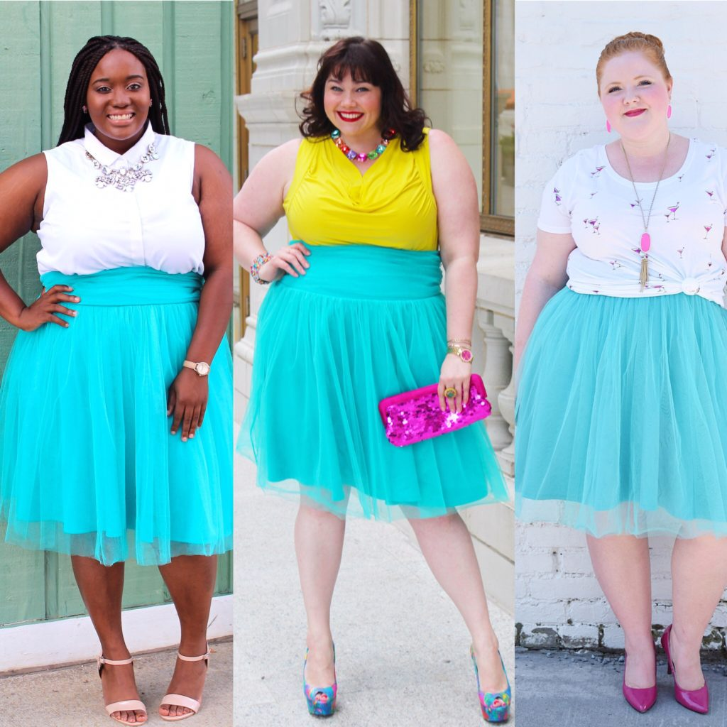Gwynnie Bee Plus Size Style Challenge: Teal Tulle Skirt