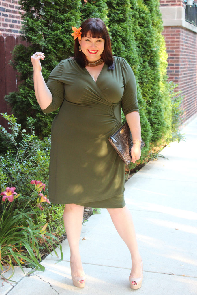 Plus Size Blogger Amber from Style Plus Curves in Kiyonna Ciara Cinch Dress in Olive Martini