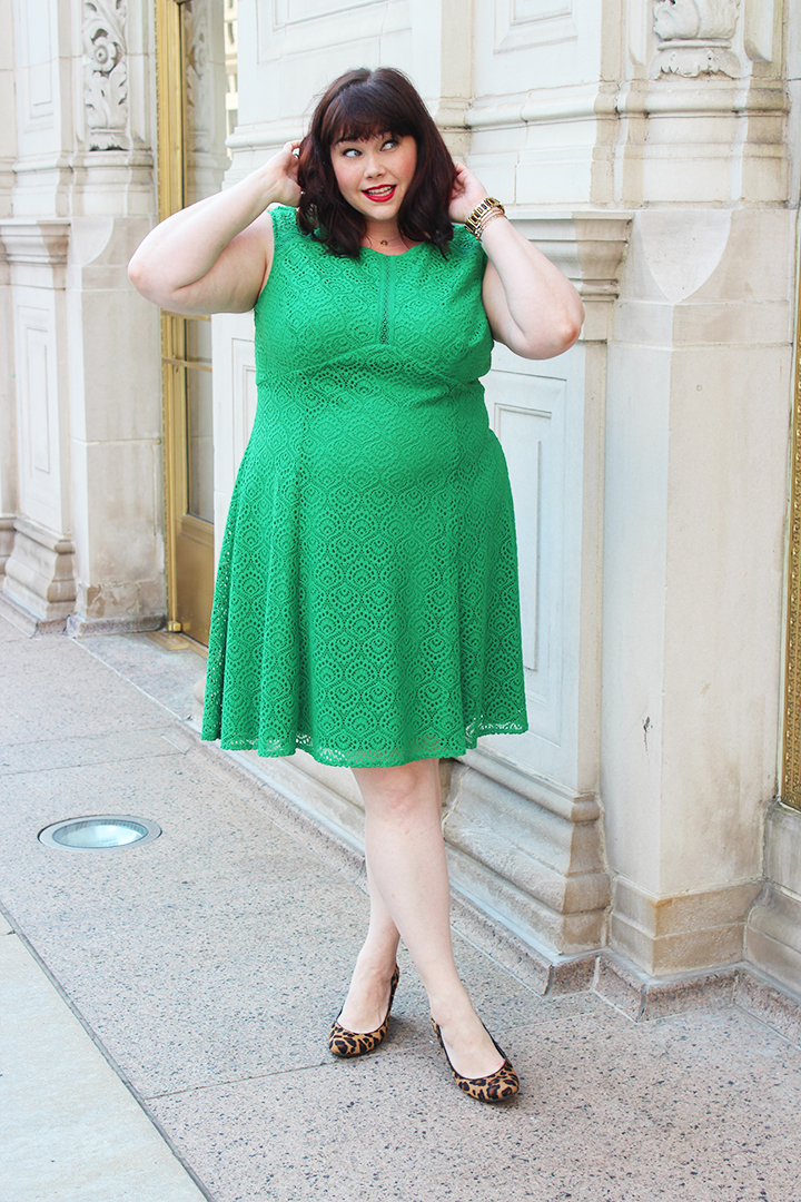 London Times Green Lace Plus Size Dress Sample Sale Ends